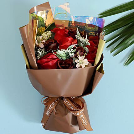 Red & Brown Artificial Flower Bouquet