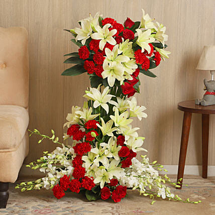 Online Red and White Flowers Arrangement