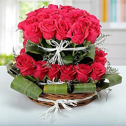 Dark pink rose cane basket arrangement