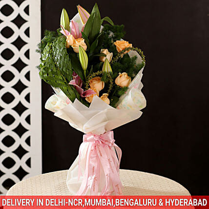 exotic roses n lilies bouquet for her