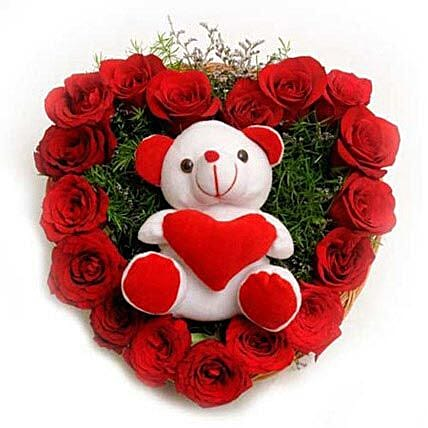 Roses N Soft toy - Heart shape arrangement of 17 Red Roses and a Soft toy.