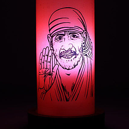 Sai Baba Divine Lamp-Your gift containsorange baba bottlelampwooden holder