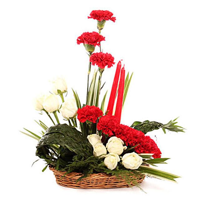 Serene Expression Of Love - Basket arrangement of 10 roses, 8 red carnations.