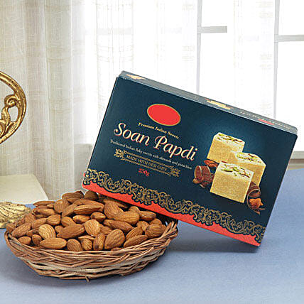 Soan papdi with almonds