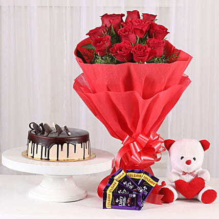 Softy Roses Hamper - Bunch of 12 Red Roses with Soft toy, Chocolates & 500gm Chocolate