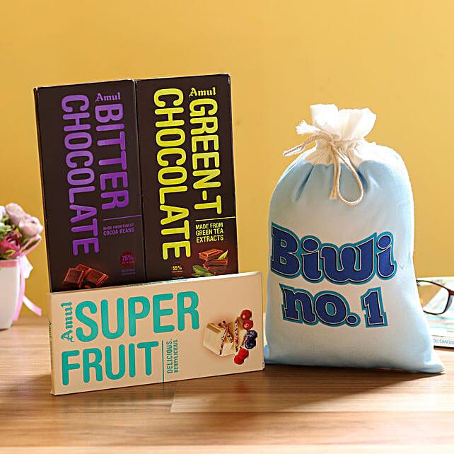 Chocolate Bar with Gunny Bag for Wife