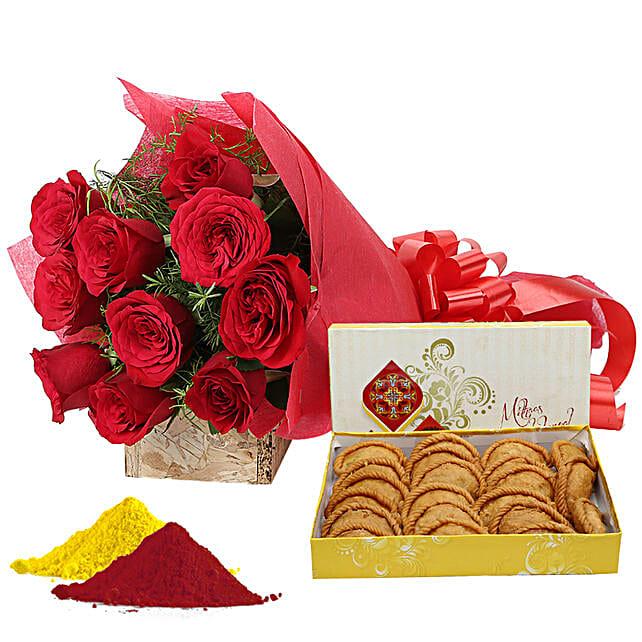 Red rose bouquet, gujia, gulal hamper