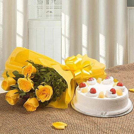 Spectacular - Bunch of 6 Yellow Roses with Pineapple Cake 500gms.