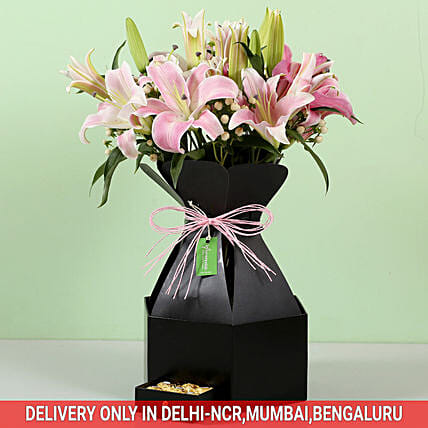 Luxury Lilies Box with Chocolate Online