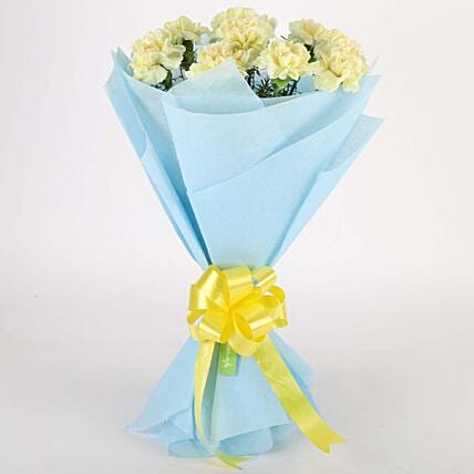 Sundripped Yellow Carnations Bouquet