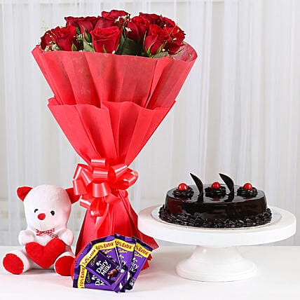 Sweet Combo For Sweetheart - Bunch of 15 Red Roses in paper packing With 6inch Soft toy, 500gm Truffle & 5 cadbury  (14gm each).