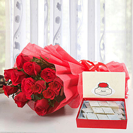 N Roses - Bunch of 12 Red Roses packing, 500gms Kaju Katli.