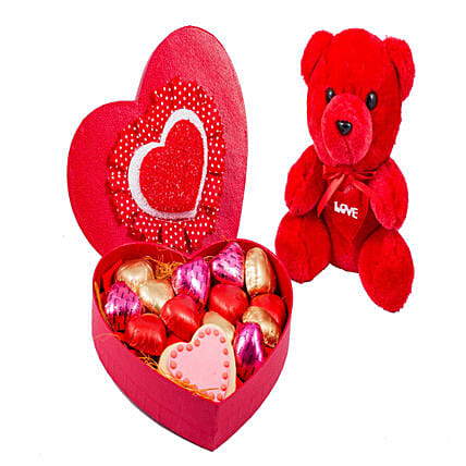 Combo of Heart chocolates with Teddy