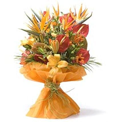 Thank You Bouquet - Bunch of 5 stems of red anthuriums, 5 peach/orange lilies & 5 Birds of Paradise in a non woven paper wrapping.