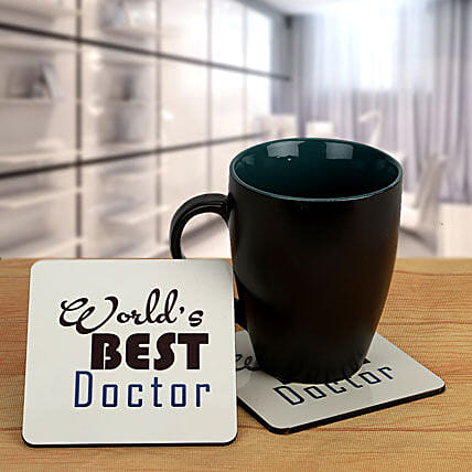 Thank you Doc-Black Coffee Mug and Best Doctor coasters