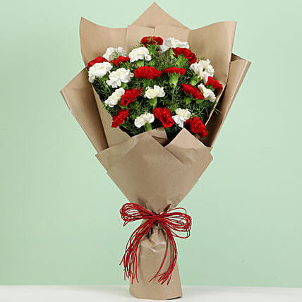 romantic red n white carnation bouquet online