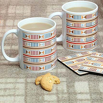 Hamper of a pair of printed ceramic white mug and tea coaster