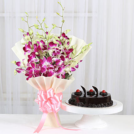 Blue orchids bouquet with cake