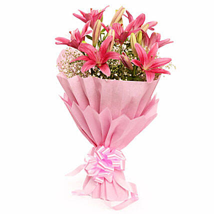 Captivating Asiatic Lilies - Bunch of 6 pink asiatic lilies in 2 layer paper packing.