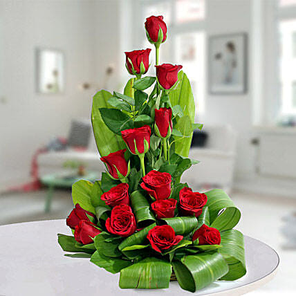 Expression of Romance - Basket arrangement of 15 red roses.