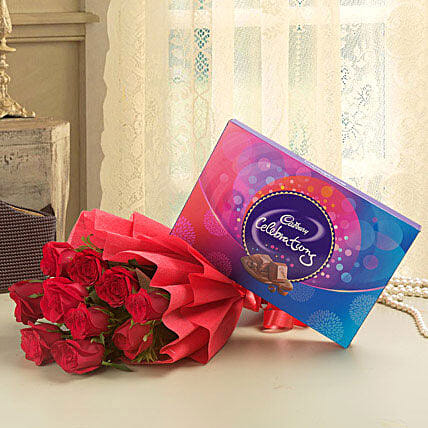 Combo of a bunch of 10 red roses with cadbury celebrations chocolate box