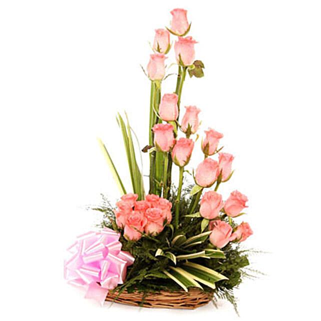 Joyous Flowers - Basket arrangement of 20 Pink roses.