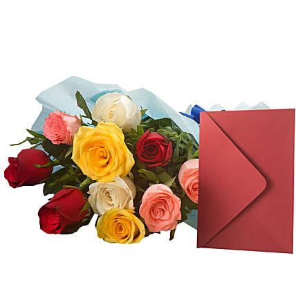 Mix Roses N Greeting Card - Bunch of 10 Mix roses and a greeting card.