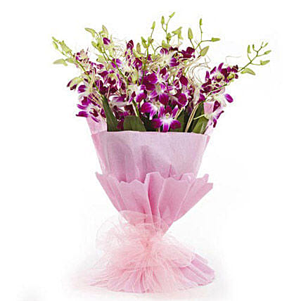 Sweet Treasure - Bunch of 10 purple Orchids in dual paper packing.