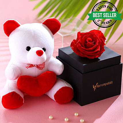 online infinity rose with teddy bear online