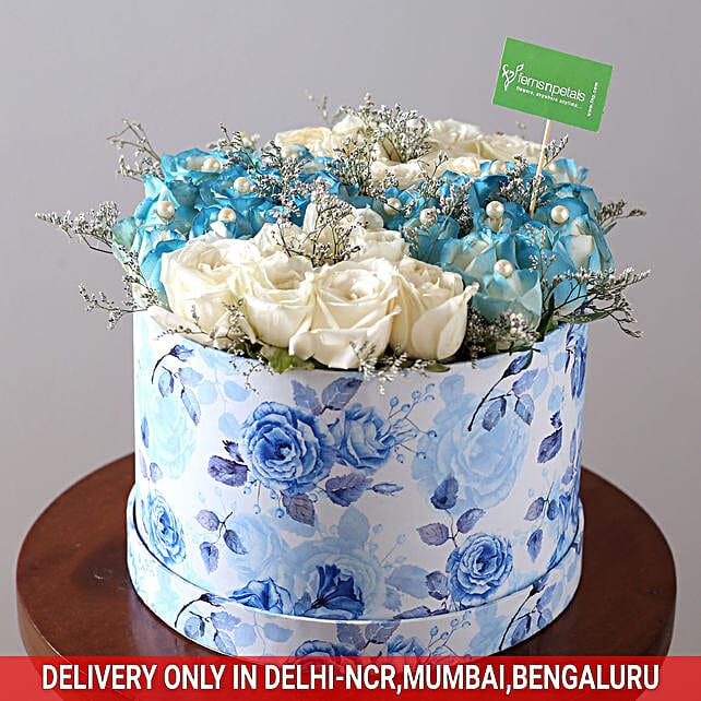 Buy Online White & Blue Rose Box