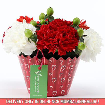 Order Online White & Red Floral Arrangement