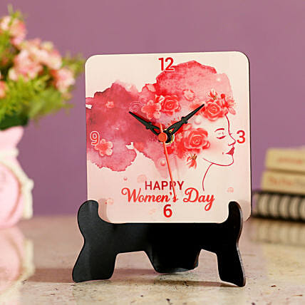 greeting womens day printed table clock online