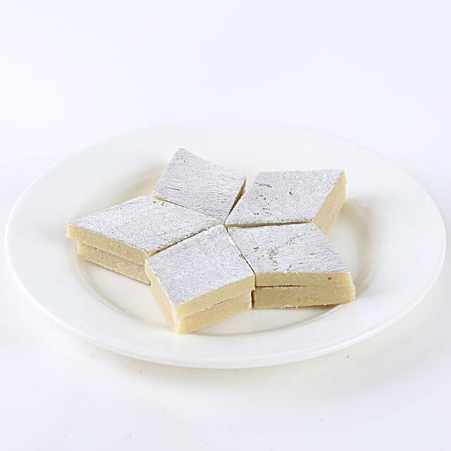 A box of kaju burfi sweets