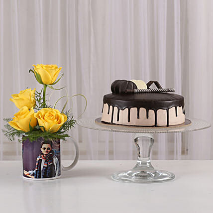 printed coffee mug combo of roses n cake