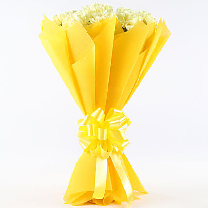 Sunny Delight - Bunch of 12 Yellow Carnations.