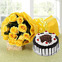 Perfect Combo To Gift - Bunch of 12 Yellow Roses with 500gm Blackforest Cake.